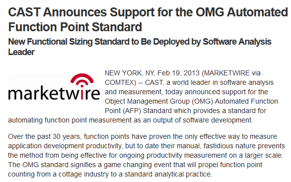 Function Point : CAST-Announces-Support-for-the-OMG-Automated-Function-Point-Standard