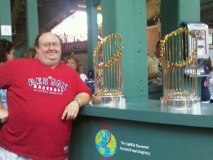 Yours truly with the Red Sox '04 & '07 World Series Trophies
