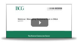 BCG Webinar to de-risk the due diligence process and post-merger strategy